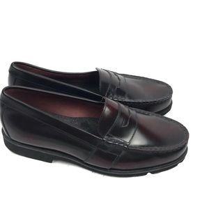 Rockport Men's Black/Burgundy Penny Loafers 10M